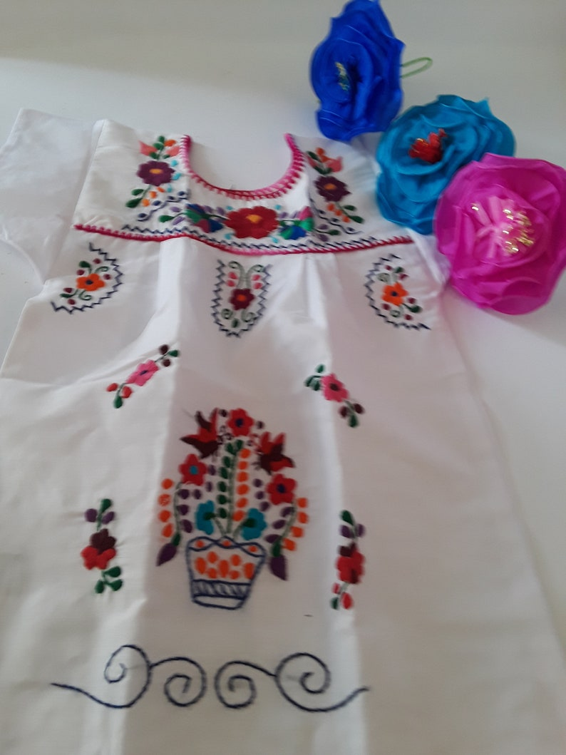 885fc7d20ac87 White Mexican Puebla Toddler Dress Vibrant Hand Embroidered Flowers made in  Mexico Perfect For Mexican Theme, Birthday Dress, Fiesta Dress