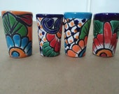 Set of 2 or 4 talavera shot glasses, Handmade in Mexico Mexican Folk Art, Great Party favor