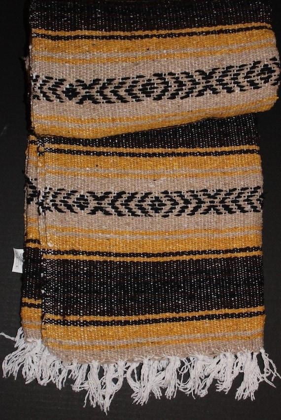 Mexican Falsa Blanket Pink Gray white striped //w Black Aztec lines white fringe