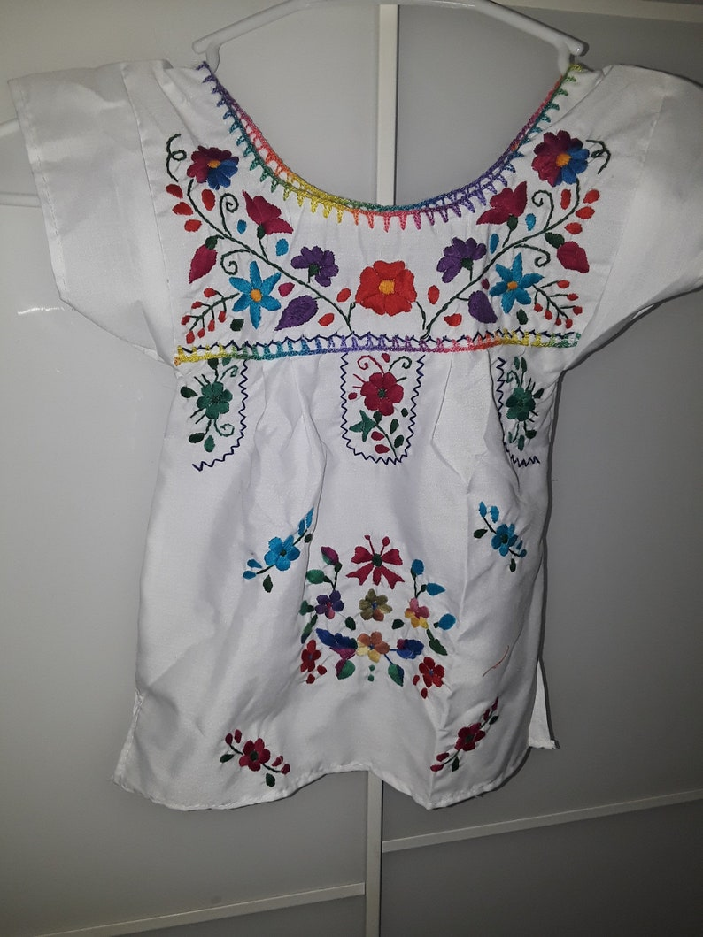 7f1808d98a38b Mexican Girl's Dress, Fiesta Theme Toddler Dress, Beautiful Birthday and  Cultural Dress, Many Color's, Hand Embroidered