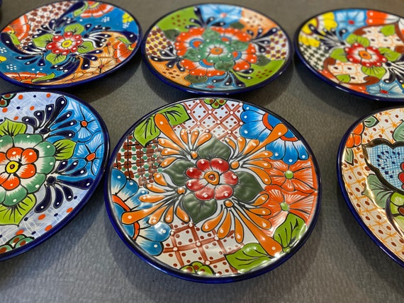 """Talavera Mexico 11.5/"""" Plate Colorful Folk Art Mexican Pottery Hand Painted"""