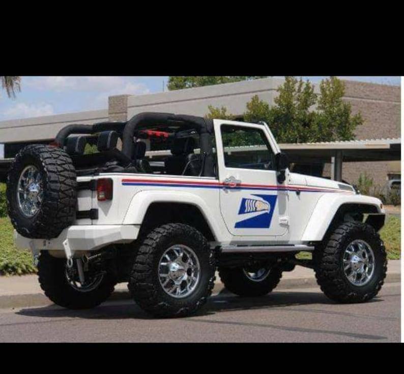 Jeep 2 door postal kit lft rt side red blue stripe set and 2 door postal bird logo.