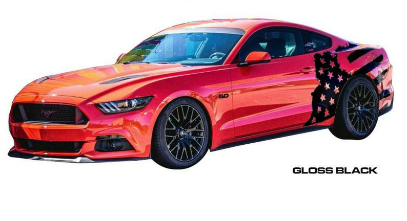 2015-2019 ford mustang side body distressed flag decal kit
