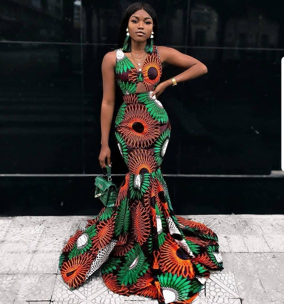 Ankara Sleeveless Mermaid Dress Etsy