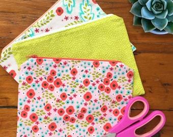 Cute Zipper Pouch / Handmade / Washable