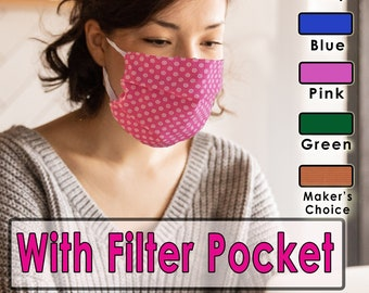 Filter Pocket Face Mask / 3 Layer Protection / Washable Reusable Face Mask / Toronto Canada / Dispatches Same Day