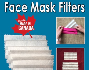 Face Mask Filters (5 or 10 Pack) / PM 2.5 Filter / Reusable / Last 2 Weeks / Free Shipping / Made in Canada