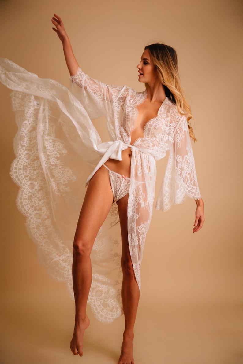 Kimono robe Bridal robe See through lingerie Bridesmaid image 0