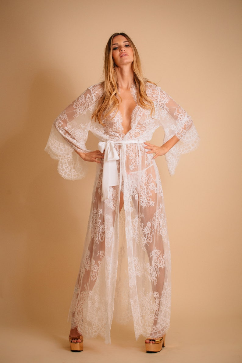 Maternity sheer gown White lace robe See through lingerie Lace image 0