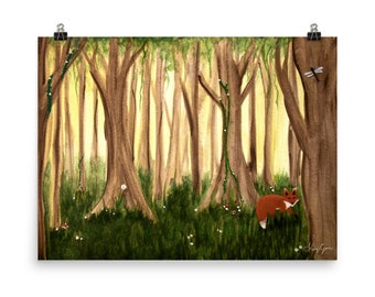 Fox in the Woods- Poster Print