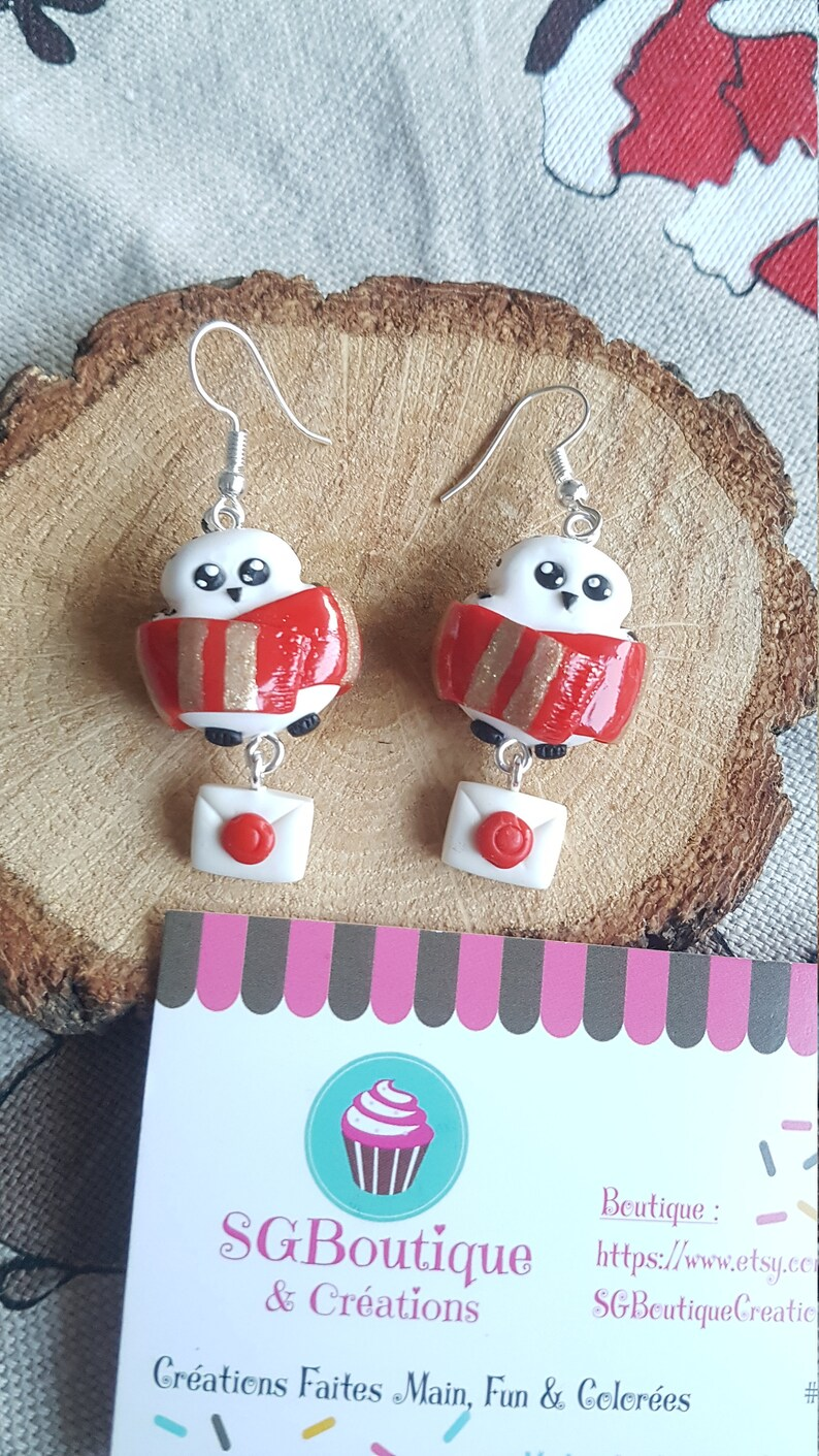 Jewel Gryffindor Gift for her Owl Kawaii Mail Letter Harry Potter Edwige earrings