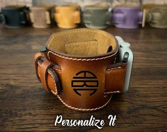 Leather Apple Watch Band 44mm Man Custom Apple Watch Band 42mm Apple Watch band 40mm woman Leather Apple Watch Band 38mm Woman Cuff Monogram
