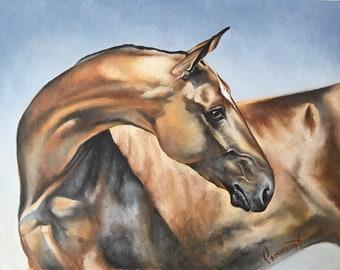 Portrait of Akhal-Teke horse Horse painting