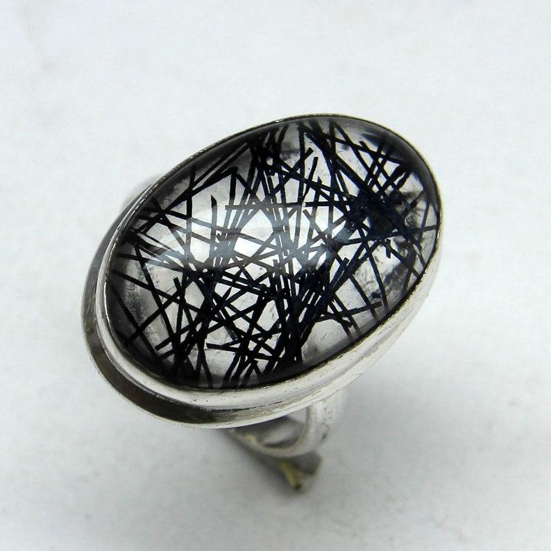 Easter gift Ring Size 5.50 US Natural Amazing Black Rutile Quartz Ring Women Ring 925 Sterling Silver Ring Rutile Quartz Ring