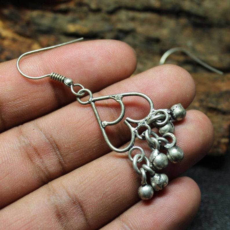 925 Sterling Silver Women Handmade Earrings Beautiful Silver Heart Design earring. Beautiful Small Charm Bell Women Designer Earrings