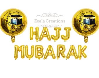 Hajj Mubarak Decorations Gold Foil Balloon Banner Bunting Eid Decorations