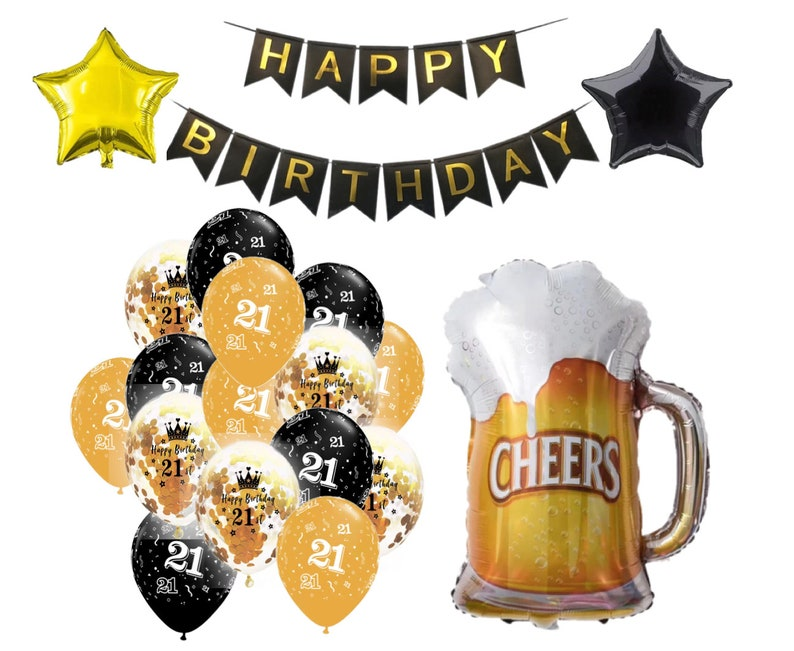 21st Birthday Decorations Balloons Cheers To 21 Years Beer