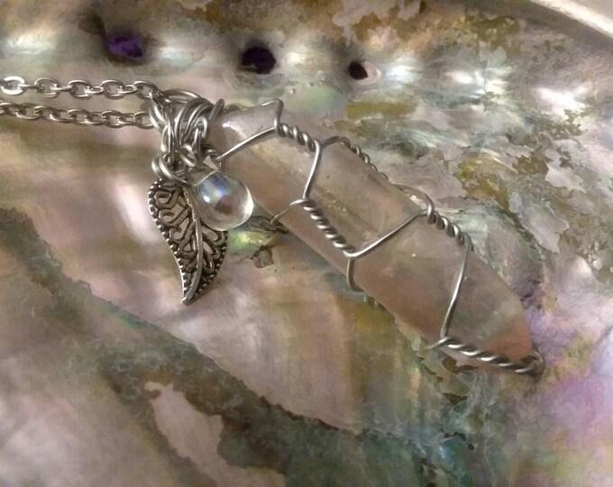 Quartz. Rainbows Angel Aura Handmade and Wire Wrapped Quartz Point Necklace Boho Hippie Style Reiki Jewelry All Chakras Spirit Jewelry