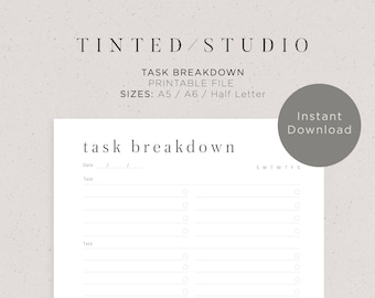 Task Breakdown Planner Printable   A5, A6 & Half Letter Size   Daily Planner   To Do List     Check List   Minimal Design