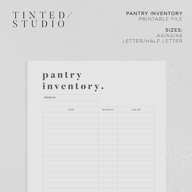 picture about Pantry Inventory Printable identified as Pantry Stock Printable Choice 01 Supper Building A4 A5 A6  Fifty percent Letter Letter