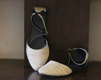 Beige Handcrafted Ankle Strap Flats
