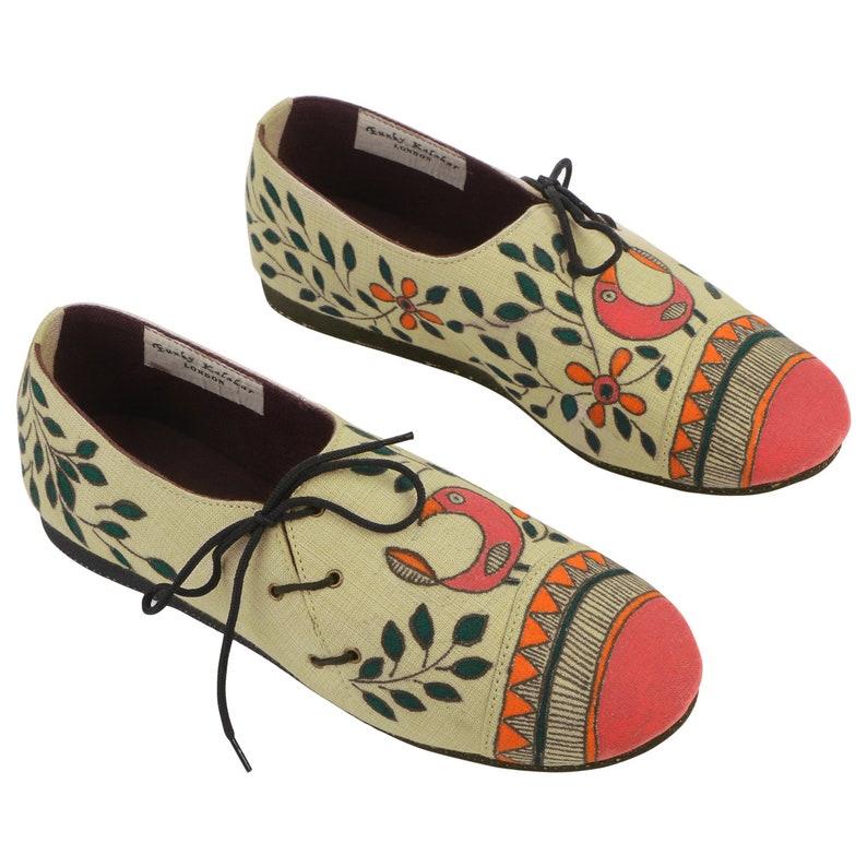 5709af8c7d1b2 Handpainted Beige Vegan SneakON Summer Flat Shoes by Funky Kalakar