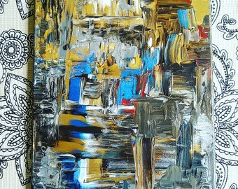 Hand painted abstract  acrylic painting  on stretched canvas