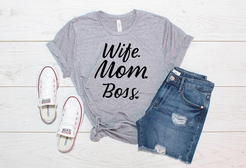 dbefcbc4b7805 Wife Mom Boss Unisex T-Shirt Wife Shirt Motherhood Shirt   Etsy
