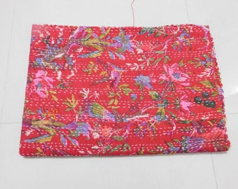 Red Bird Print Vintage Handmade Kantha Bedspread Throw Cotton Blanket Gudari Queen 90x108 inch