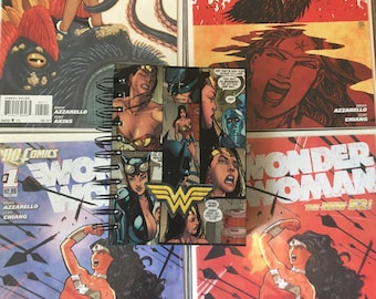 """Wonder Woman spiral notebook ; Premiere Brand Decoupage with DC comics 4""""x6"""" * 160 pages 80 sheets sketchbook Journal"""