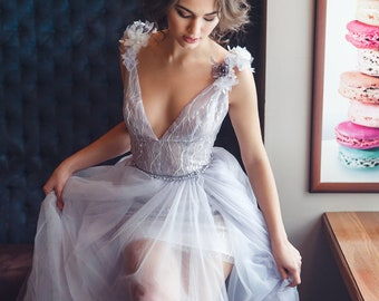 Bridal gown mini,bridal gown-transformer,lavender colour,puff train,straps over the shoulders,plunging neckline, embroidered,3D flowers