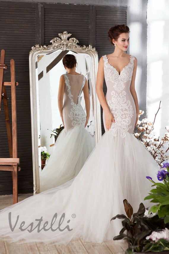 Mermaid Bridal Gown Tight Silhouette Wedding Dress With 3d Etsy