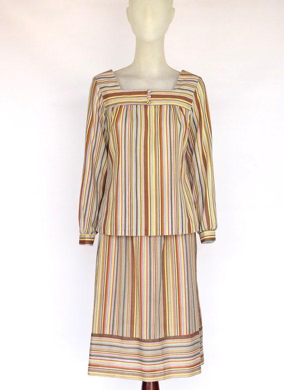 Vintage 60s Striped Set Matching Separates Skirt B