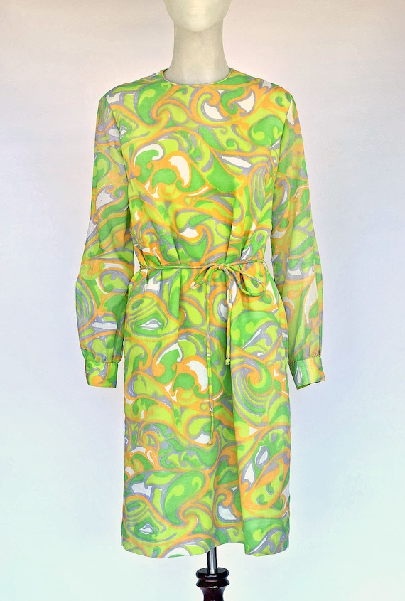 Vintage 1960s Psychedelic Print Shift Dress Green Yellow Sheer Woven Tie Belt Party Dress Pucci Style Pattern