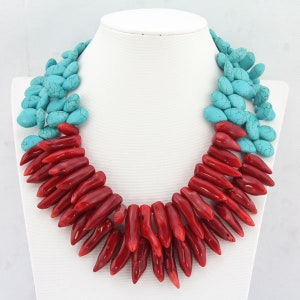 Charming 3 rows Red Coral Necklace,African Coral Necklace Beads,Coral Flower Clasp Statement Party Bridesmaids/&Wedding Gift Jewelry Necklace