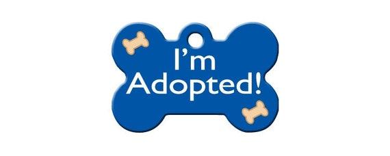 I'm Adopted LARGE Blue Bone Shape Personalized Custom Engraved Pet ID Tag- Free Shipping
