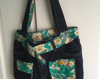 Upcycled/recycled denim Tote bag with floral design fabric, hobo style, with reflective patches, one of a kind