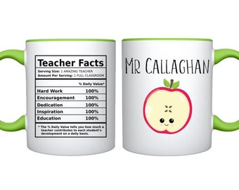 Personalized Teacher Mug, Funny Teacher Facts Mug, Personalized Teacher Gift, Teacher Thankyou Gift, World Teachers Day