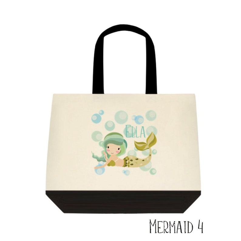 Personalized Mermaid Bag Library Bag Mermaid Tote Overnight tote Personalized Mermaid Bag