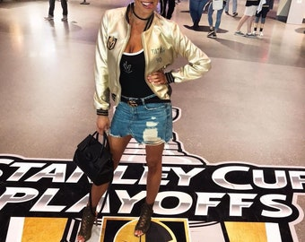 Vegas Golden Knights Jacket Stanley Cup Golden Knights patches Custom Vegas Golden  Knights Women Gold Bomber Jacket mothers day gift for her 2c960735fc