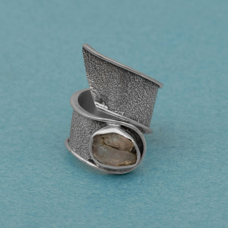 Fidget Ring Solid 925 Sterling Silver Natural Rainbow Moonstone Bypass Shank Ring Minimalist Ring,Textured Ring, Anxiety Ring