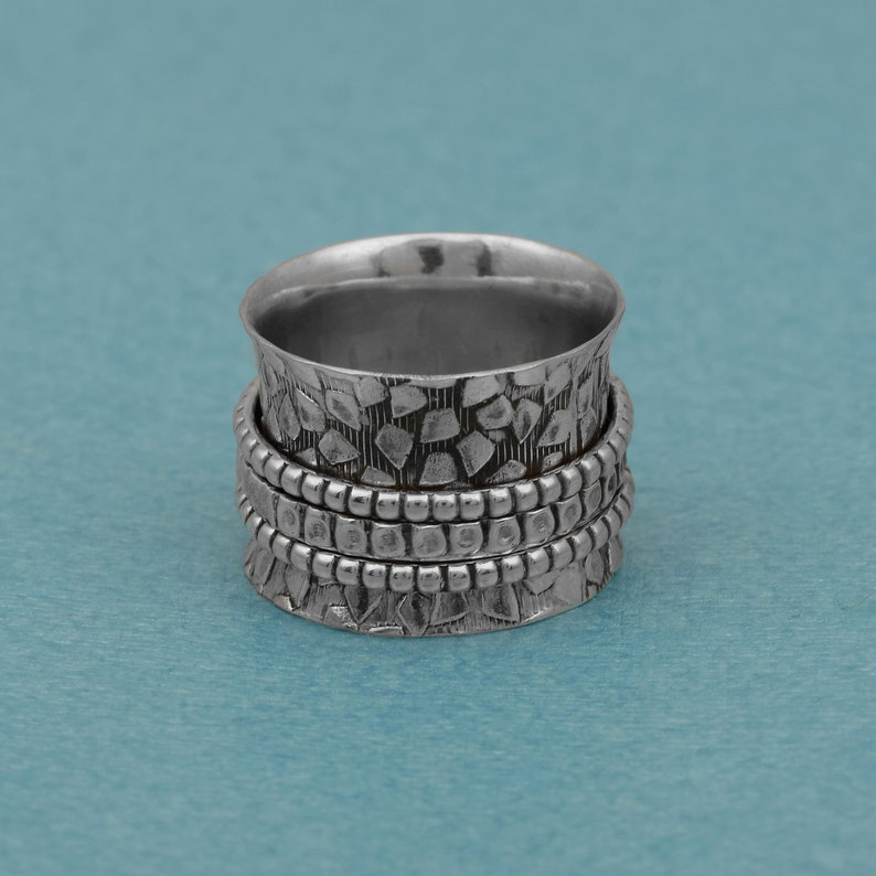Minimalist Ring,Textured Ring Anxiety Ring Spinner Ring Spinning Ring Fidget Ring 925 Sterling Silver Beaded Roped Band Meditation Ring