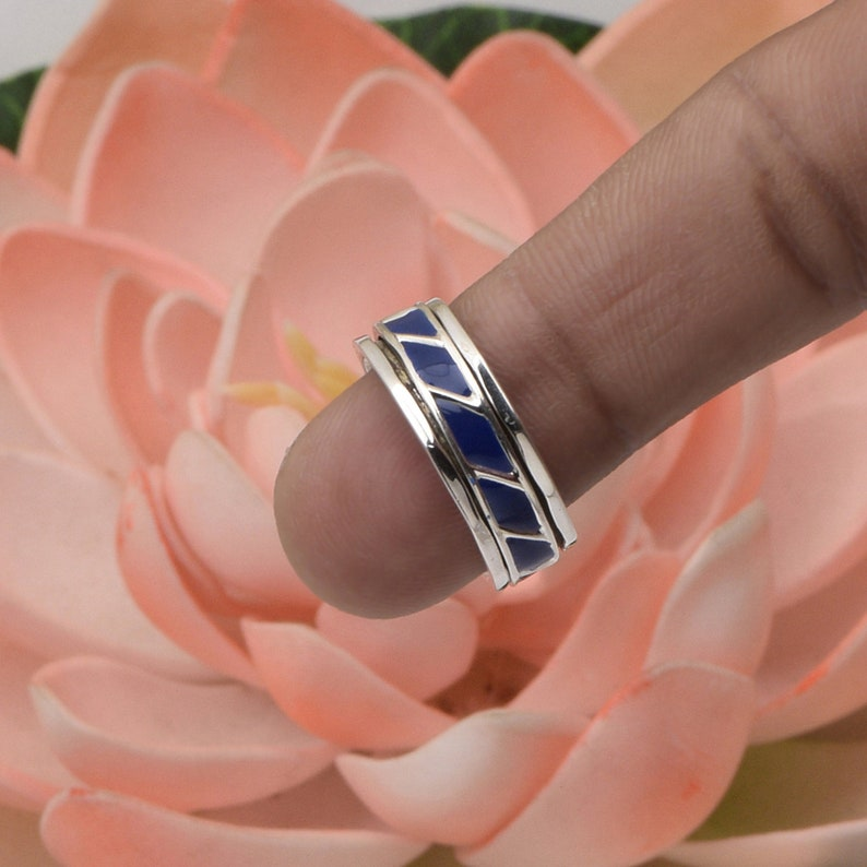 Stress Ring Meditation Ring~925 Sterling Silver Wide Band Worry Ring Lapis Gemstone Stackable Ring Spinner RIng Fidget Ring Thumb Ring