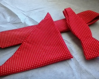 3 Piece Red with White Swiss Dots Tie Set