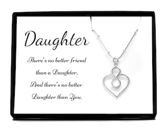 Gift For Daughter Pendant Necklace Infinity Heart Pure Silver Jewelry From Dad Father Mom Mother Personalized Birthday Present