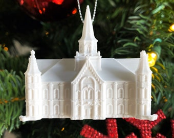UT Temple Shape Tree Ornament 3D-Printed Draper