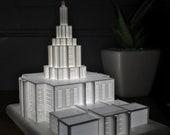 Idaho Falls, Idaho LDS Temple Night Light Statue - Mormon - The Church of Jesus Christ of Latter-day Saints