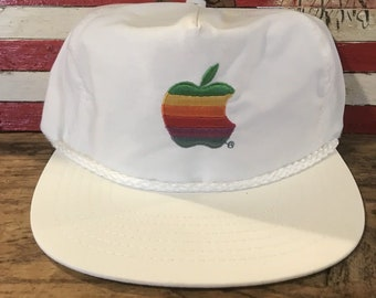 Deadstock 1980s Apple embroidered STRAPBACK MAC MACINTOSH Dad hat with rope trim!