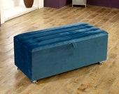 ASHRIDGE Plush Velvet ottoman box toy box stool seat storage box various colours
