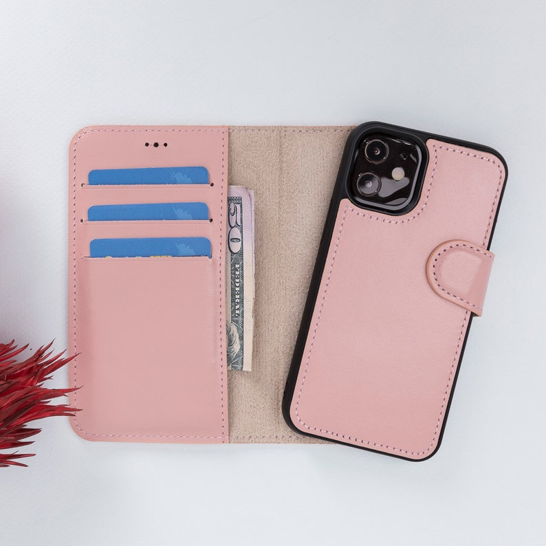 Best Phone Case for iPhone 12 Mini 5.4 iPhone 12 Mini Leather Bifold Wallet Back Cover Supports MagSafe Charge and Wireless Charge  PINK